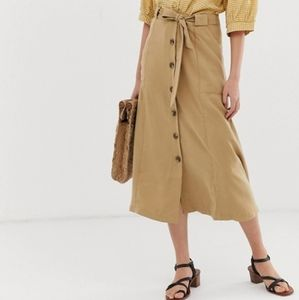 Button Down Skirt with Sash in Khaki by MNG